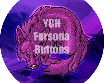 "Your Character Here Custom Canine Button, 2.25"", Metal Pin Back, Furry, Fursuit, Original Character, OC, Custom, Glitter"