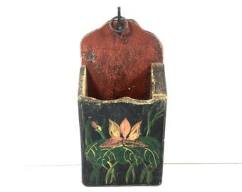 Primitive Hand Painted Wood Box Matchbox Candle Wall Box Authentic Folk Art Black and Floral Toleware Wooden Farmhouse Catchall