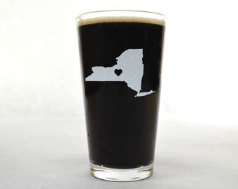 New York Beer Glass - State Pint Glass - Pint Glass - Personalized Pint Glass - Etched Pint Glass - Groomsmen Pint Glass