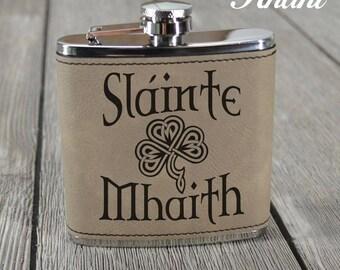 Irish Leather Flask. Slainte Mhaith. Gaelic Toast. Celtic Knot. Irish Gift. St Patricks Day. St Paddys. Irish Saying.