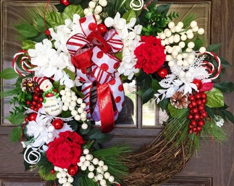 Front Door Wreath | Christmas Wreath | Grapevine Wreath | Red and White Wreath | Wreaths on Etsy | Etsy Wreaths