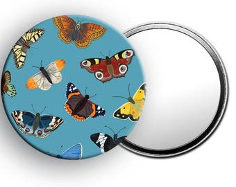 Beautiful Butterfly Pocket Mirror, Colourful Mirror, Handbag accessories, Butterfly gifts, Gifts for her, Handbag mirror, Cute gifts, Art