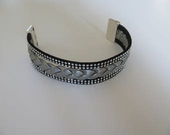 Black and silver grey leather CUFF BRACELET studded rows