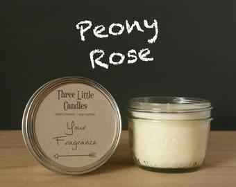Peony Rose Soy Candle Mason Jar - 170g - 30 + Hour Burn Time
