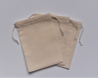 "Muslin Pouches * Plain Cotton Bags * Jewelry Pouches * Set of 10 * Gift Bags * 4"" x 5"" (10cm x 13cm )"