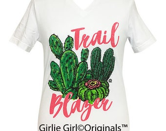 Girlie Girl Originals Trail Blazer White V-Neck Short Sleeve T-Shirt
