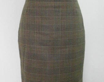 summer sale Vintage 80s pencil skirt  brown taupe cream checked pure new wool Skirt by St Micael Size Medium