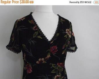 summer sale Vintage dress 90s by Monsoon black  floral dress maxi dress size medium