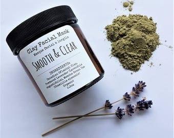 Smooth and Clear Clay Facial Mask | Reduce Fine Lines and Appearance of Pores | Organic Skin Care