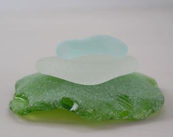 Natural Beach Glass • Large Beach Glass • Blue White Green