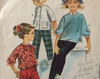 McCall's 6979 girls blouse and pants size 6 vintage 1960's sewing pattern  Designed by Helen Lee