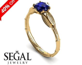 Sapphire Engagement Ring Yellow Gold Blue Sapphire Ring 1920S Ring Vintage Bridal Ring Leaf Ring Sapphire Engagement Ring - Lily