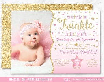 Twinkle Twinkle Little Star Birthday Invitation, Pink and Gold Twinkle Twinkle Invite With Photo, First Birthday, 1st Birthday