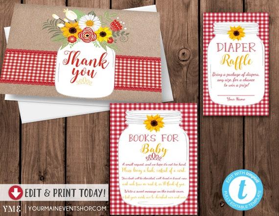 Country BabyQ BBQ Baby Shower Book Request Card, Diaper Raffle, Thank You Card, Mason Jar, Kraft, Baby Sprinkle