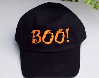 Boo! Halloween Black Baseball Cap || Embroidered Spooky Hat || Custom Gift by Three Spoiled Dogs Made in USA