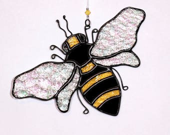 Stained glass bee suncatcher, stain glass bumble bee ornament, handmade stained glass bee, honey bee
