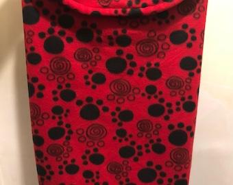 XL Dog Jacket (Red/Black Pawprints)