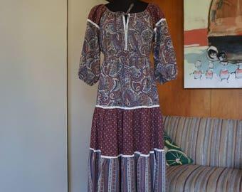 1970's Brown Floral Tiered Prairie Dress Empire Waist Size M Boho Hippie