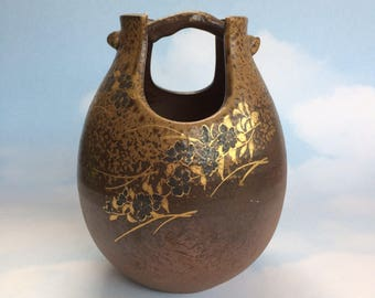 Japan Signed Art Pottery Vase Brown Gold Oriental