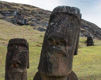 Duo at the Quarry | Easter Island, Chile ~ Moai, statue, carving, bird man, Ahu Tongariki, Rapa Nui, Rano Raraku, Polynesia, stone