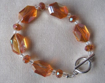 Handmade Art Deco style golden orange bracelet with hexagon and rondelle crystal glass beads - 8 inches long - great for prom/wedding/party