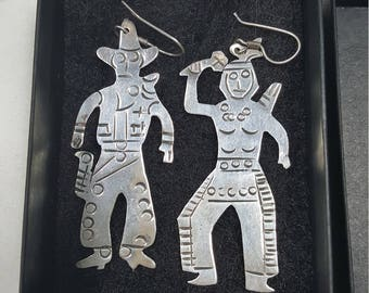 Vintage cowboy and Indian earrings sterling silver