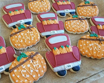 Pumpkin and truck cookies