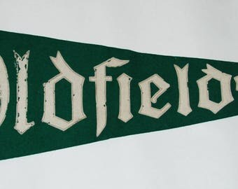 1940s-50s era Oldfields Girls' Boarding School Felt Pennant — Free Shipping!