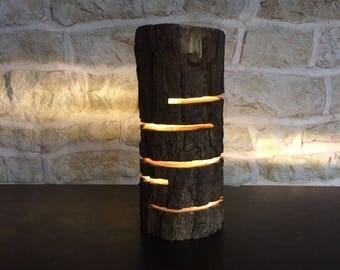 led lamp, led log lamp, log light, contemporary lamp, desk lamp, table lamp, rustic lamp, accent lamp, floor lamp, wooden log lamp,