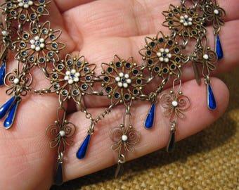 Outstanding Antique Silver Enamel Necklace 17.03 Grams.
