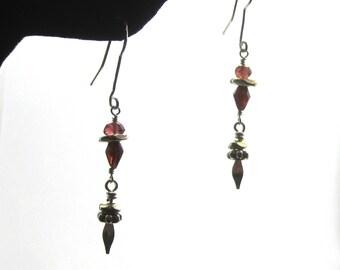 Garnet Silver Dangle Earrings