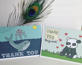 Thank You Cards- Stationary- Cards- Paper Products- Good Vibrations- Blank Card- Punny- Cute Cards- Hand Drawn- Thankyou Cards