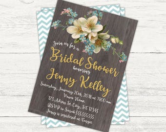Rustic Bridal or Baby shower invitation