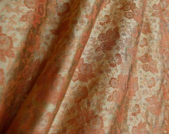 Vintage rust gold floral semi sheer cotton - indian or asian inspired sari dress clothing fabric or curtain fabric