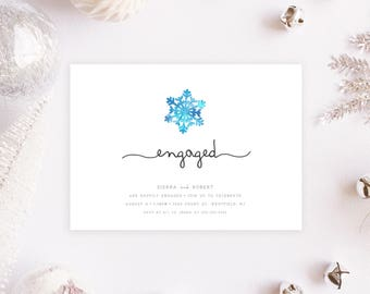 Engagement Party Invitation, Christmas Engagement Party Invitation, Holiday Engagement Party Invitation, Snowflakes, Christmas Party [278]