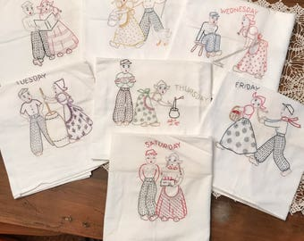 Embroidered Towels - Dutch Girl and Boy