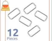 "1-1/4 Inch Rectangular Wire Loops / Rings, Nickel Finish, 12 Pieces, Purse Handbag Hardware, 1.25"" Rectangle, 1-1/4"", 1.25 Inch, RNG-AA055"