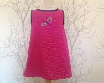 Girls dress with liberty of London applique, approx 8years