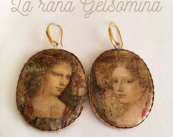 """Earrings with Dresden paper. """"Angels"""""""