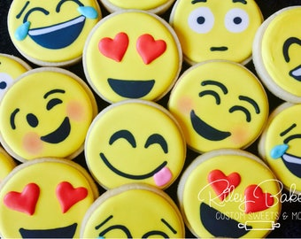 Emoji Cookies, Emoji Birthday, Emoji Party,  emoji Favors