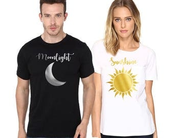 Moonlight & Sunshine, Couple t shirts, Matching shirts, Gifts for couples, Gift for her, Gift for him, Graphic t shirts, Iron on vinyl