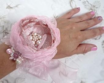 "Sparkling Pink  Fabric Flower (Headband, Hair clip, Wrist corsage, Floral bracelet or  Brooch)  ""Shine"""