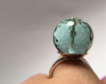 Handmade Modern Sterling Silver Ring with Aqua Blue Quartz
