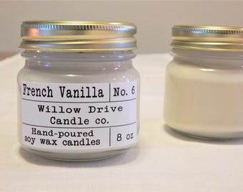 French Vanilla Soy Candle Creamy Vanilla Candle Holiday Scent Gift for Holidays Home and Living
