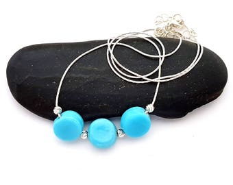 Silver and Turquoise Necklace Silver Turquoise Jewelry Blue Turquoise Necklace for Women Beaded Necklace Blue Jewelry