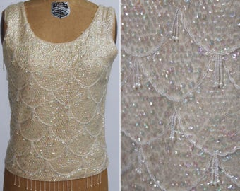 Ivory Beaded Top, Ivory Sweater Top, Beaded Fringe Top, Cropped Sweater, Beaded Top, Sequin Tank, Beaded Wool Shell, Bridal Top, Evening top
