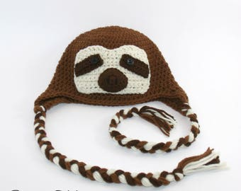 Knitted brown sloth beanie, crocheted funny sloth animal hat for kids teen and adults
