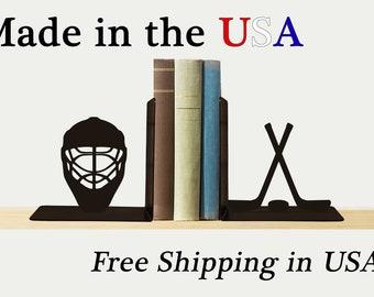 Hockey Bookends, Fun Decor, Metal Art, Book Ends, Book Shelf, Man Cave Decor, Library, Home Decor, Free USA Shipping, BE1056