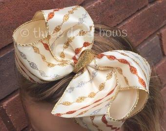 Fall Color Hair Bows - Fall Hair Bows - Fall Color Hair Bows - Fall Colored Hair Bows - Big Girl Fall Bows - Fall Print Bows