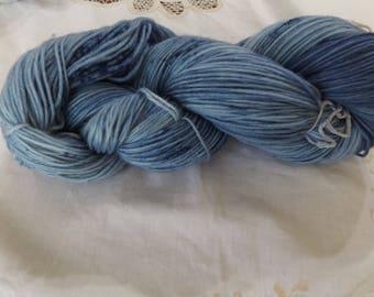 Hand dyed OOAK sock weight superwash merino/nylon yarn Rose base (SkyBlues)